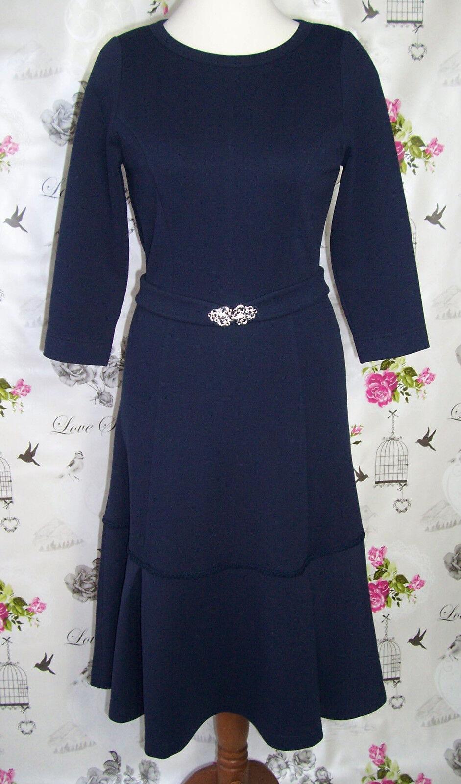 RC Kleid Romanit Jersey Dunkelblau Gr.38-40 3 4-Ärmel Volant Retro Handarbeit