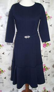 Gr Rc Volant ärmel 38 3 Romanit Kleid Jersey Handarbeit Retro 4 40 Dunkelblau rcnqFrWI