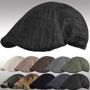 d0500fbf6b5 Mens Summer Newsboy Cap Duckbill Ivy Cap Cabbie Driving Cotton Golf ...