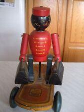 Vintage Wooden Bell Hop Pull Toy Moving Parts Black Memorabilia Hustler Toy Corp