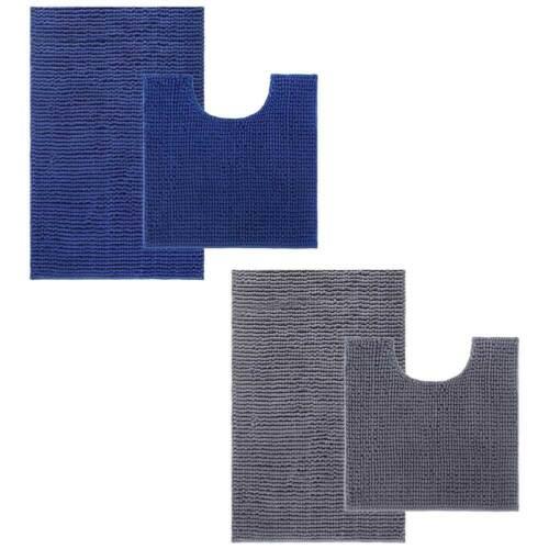 2Tlg.Set  Badematte Badteppich Badvorleger  WC Sitz Deckel Rutschfest Mikrofaser