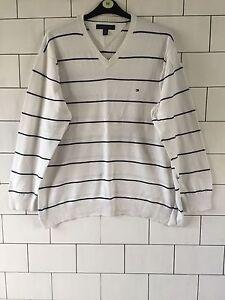 Hilfiger Xxl Vintage Chunky Bold Pullover Retro White Urban Tommy Knit Jumper O7Pqd7