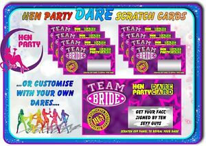 Details About Team Bride Hen Night Party Dare Scratchcards Funny Scratch Cards Invitations Hen