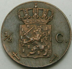 NETHERLANDS-1-2-Cent-1863-Copper-XF