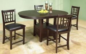 ***BLOWOUT SALE**** SOLID WOOD PUB SET WITH 4 CHAIRS WITH 18 BUTTERFLY LEAF (WALNUT)**LOWEST PRICES Regina Regina Area Preview