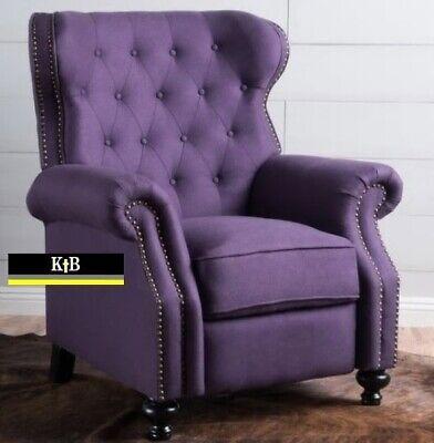 Plum Purple Tufted Fabric Recliner Club, Club Chair Recliner Fabric