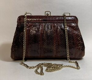 Vintage-1970s-Chestnut-Snake-Skin-Clutch-Shoulder-Bag-Chain-Strap-Suede-Lining