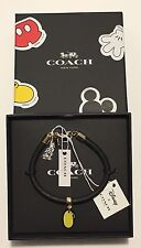 LIMITED NWT COACH Disney X MICKEY Shoe LEATHER Charm BRACELET F86791GOLD/BLACK