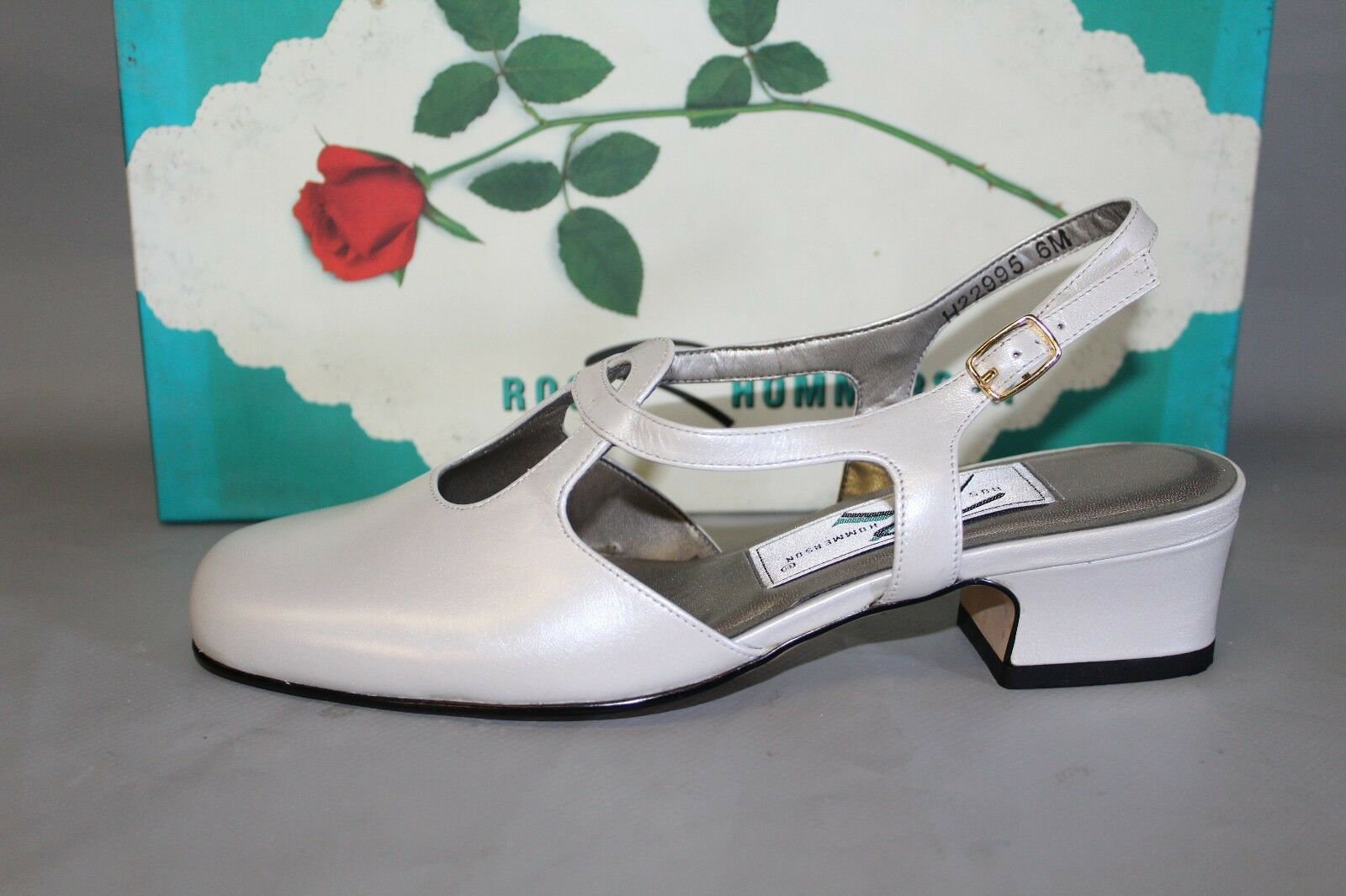 NEW Womens Ros Hommerson Pixie Lo, White Pearl Leather Slingback Heel