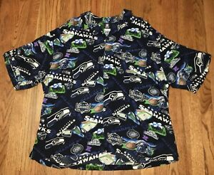 8703c0eba Vintage Seattle Seahawks Hawaiian Button Down All Over Print NFL XXL ...