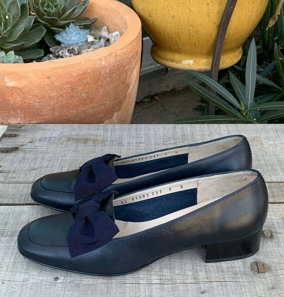 Salvatore Ferragamo Boutique Navy Blau Bow Dress schuhe damen's Größe 6 B Wedge