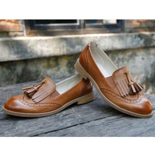Womens oxford brogue wingtip tassel loafer college low heel dress slip ons shoes