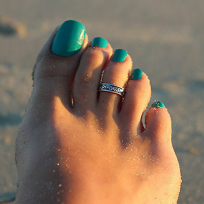 Women Lady Fashion Antique Silver Metal Toe Ring Foot Beach Jewelry Adjustable