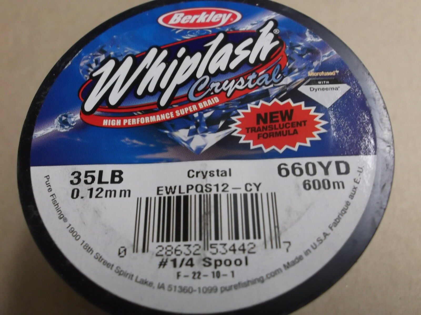 Berkley Whiplash Crystal Translucent Super Braid,35 lbs (.12mm) 660 yds.(600 m)