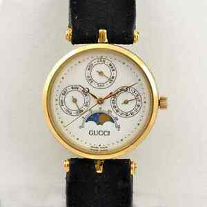 gucci quartz watch. image is loading authentic-mens-gucci-gg-logo-swiss-quartz-moon- gucci quartz watch