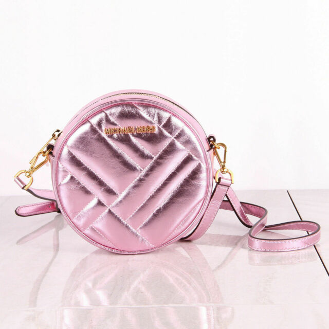 Crossbody Round Metallic Leather Vivianne Pink Michael Canteen Kors Handbag QsrCdxth