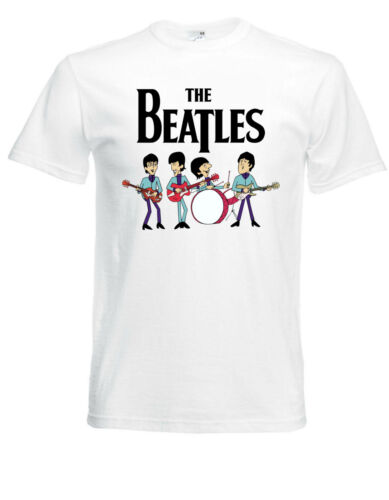 The Beatles Cartoon White New T-Shirt Fruit of the Loom ALL SIZES