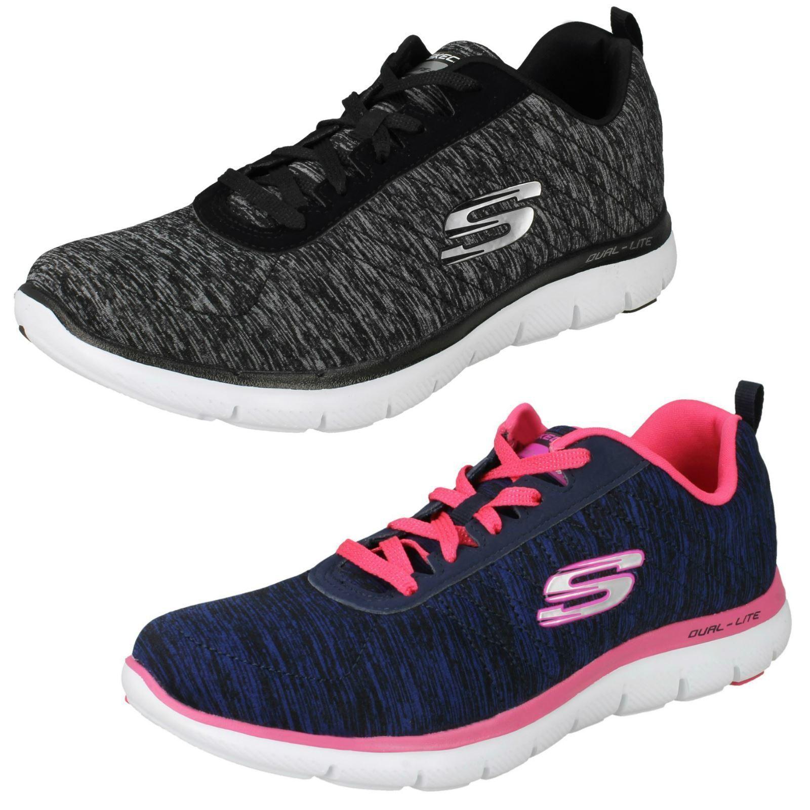 Señoras Señoras Señoras ENCAJE Skechers Memoria Espuma de impresión textil entrenadores Flex Appeal 2.0 12753  punto de venta
