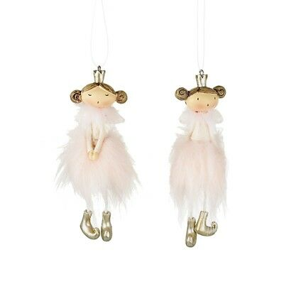 Two Pink Adorable Ceramic Fluffy Pixies / Fairy / Princess Hanging Decorations