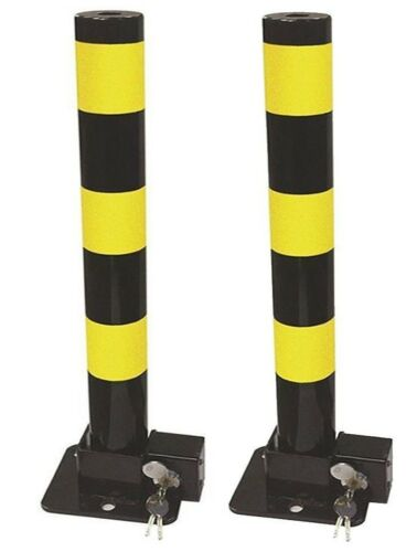 2 Streetwize Folding Robust Security Parking Post Driveway Bollard + Lock & Key
