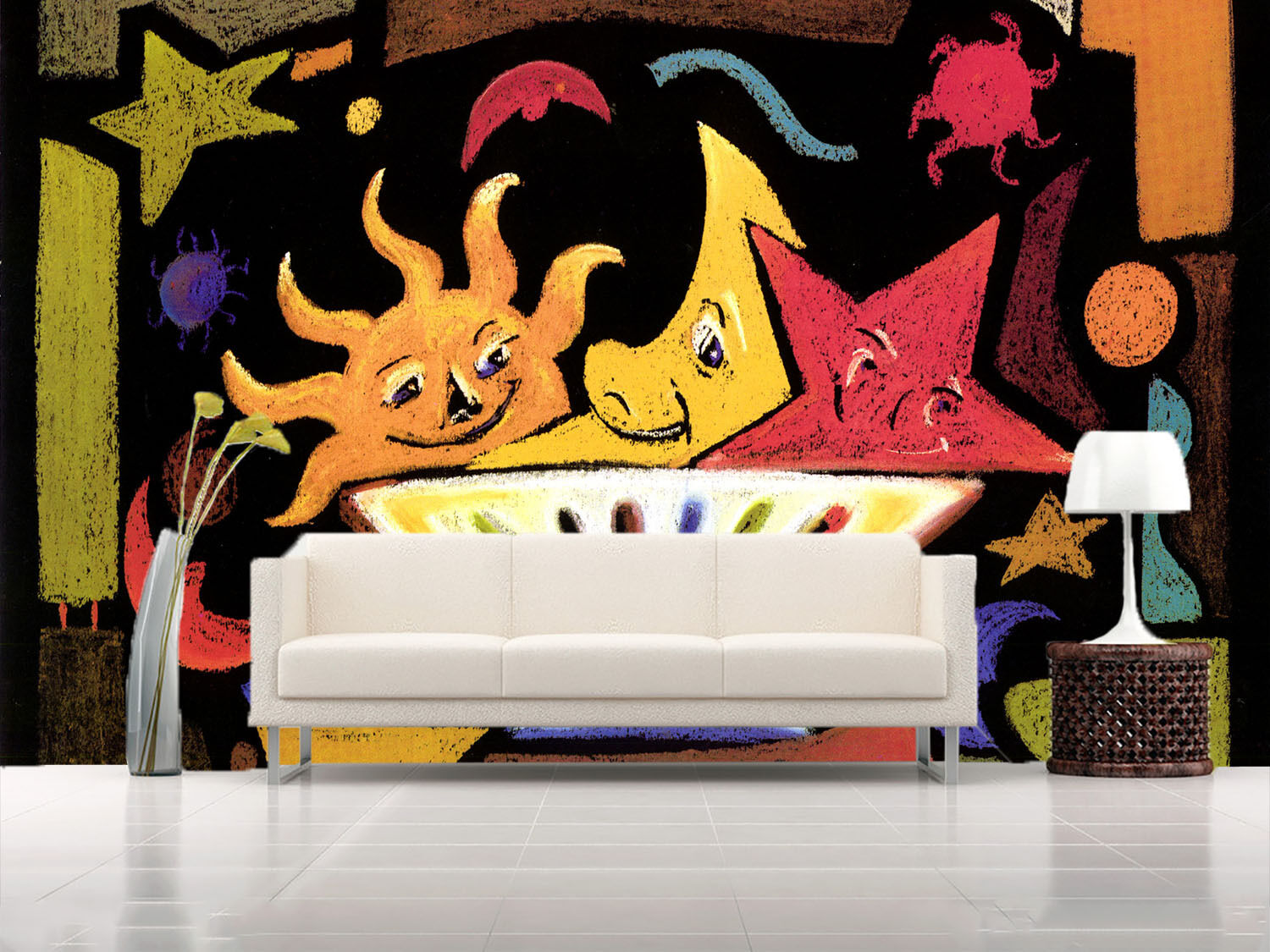 3D Star Moon Sun Painted Paper Wall Print Wall Decal Wall Deco Indoor Murals