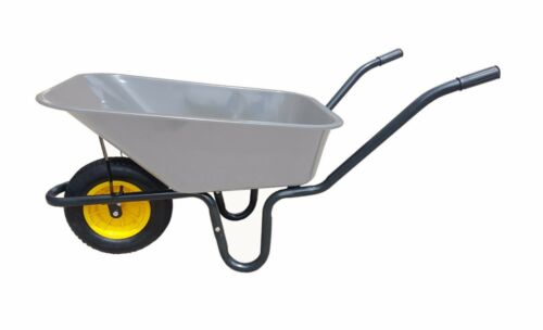 "110L METAL GALVANISED PAN HEAVY DUTY WHEELBARROW 16"" YELLOW PUNCTURE PROOF WHEEL"