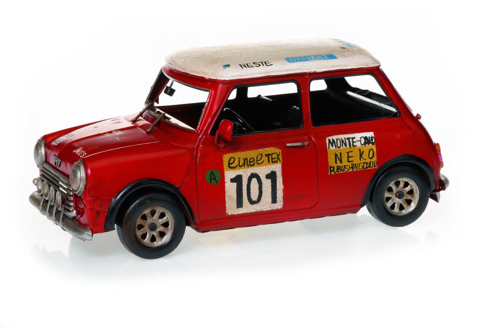 Roter Rallye Mini Cooper Racer 28cm Blechmodell Modell Oldtimer Modellauto Deko    Ausgang