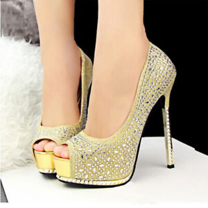 Glitter-Peep-Toe-High-Heels-Golden-Platform-Pump-Wedding-Shoes-Women-Quality