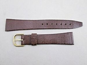 18mm-men-039-s-brown-shaved-genuine-lizard-watch-band-New-Old-Stock-Swiss-made