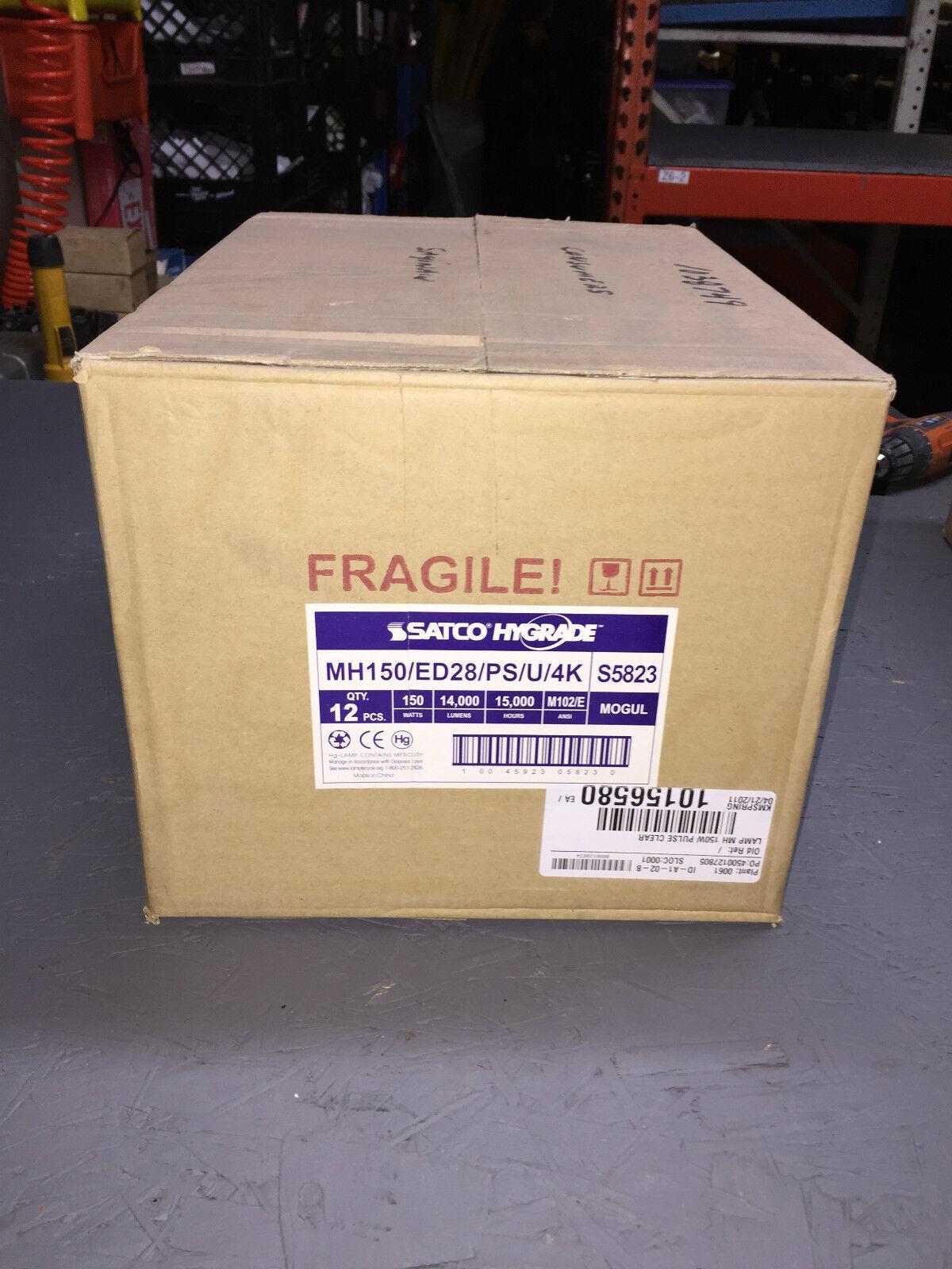 Box of 12 Satco S5823 150W ED28 Clear  Pulse Start Metal Halide Lamp 15000