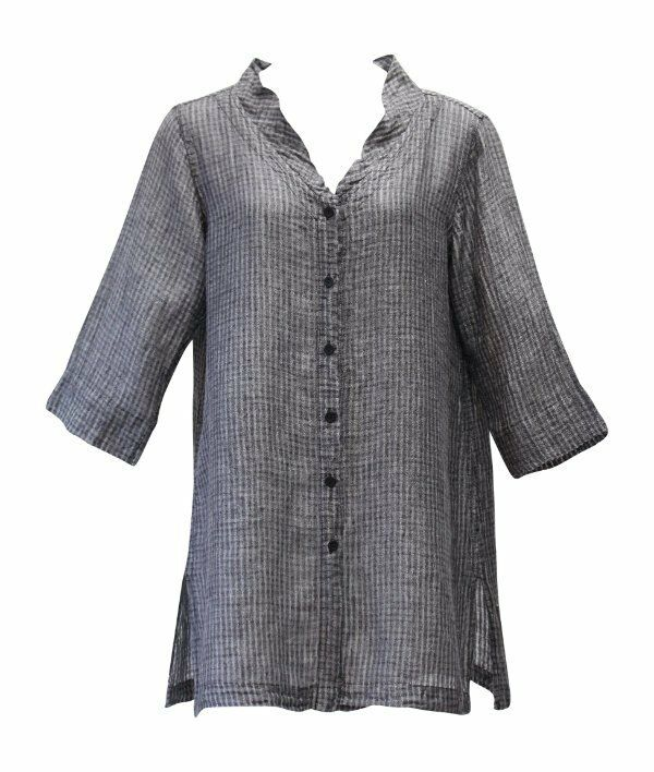 Flax Designs  Go To Jacket NWT  Raven Windowpane Gauze  Linen Gauze  Größe Medium