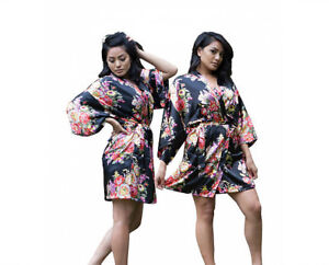 903bb47952ad9 Image is loading Floral-Silk-Bridesmaid-Robes-gowns-wedding-parties-kimono-