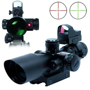 New-Hunting-2-5-10X40-Rifle-Scope-w-Red-Laser-amp-Mini-Reflex-3-MOA-Red-Dot-Sight