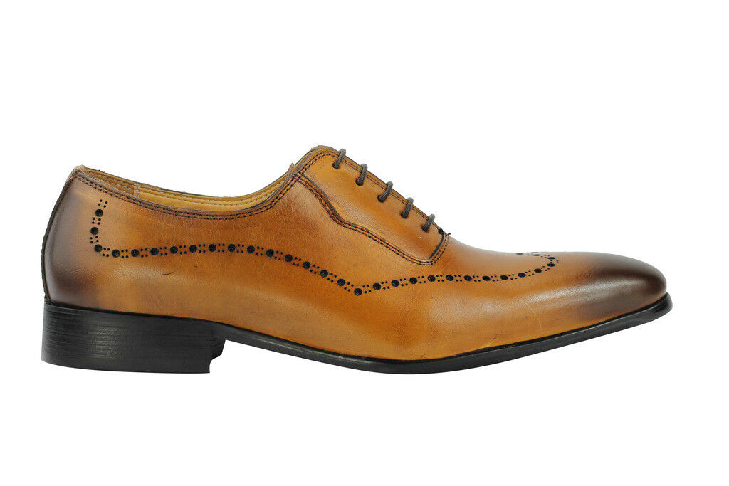 Mens TAN BROWN BRUNITA Formale Vera Pelle Italiana Design Formale BRUNITA Oxford Lacci Scarpe 3c9db6