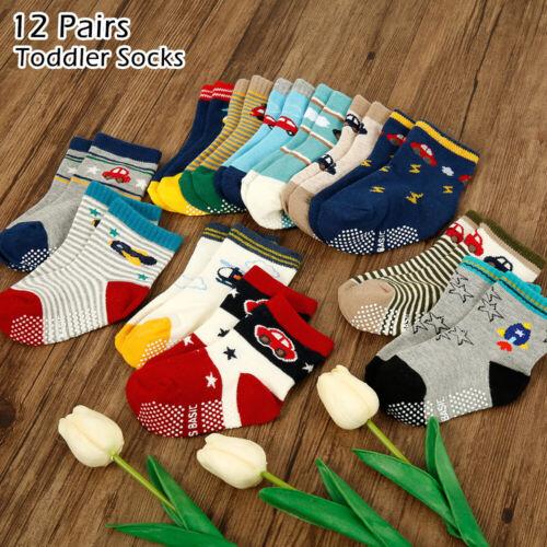 12 Paar Baby Jungen Mädchen Kinder Socken Strümpfe Anti Rutsch ABS Baumwolle