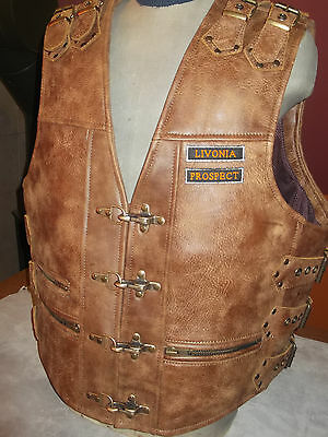 """Biker vest-handmade,genuine leather-brown,(Italy-""""Africa""""thick leather-1,8mm)."""
