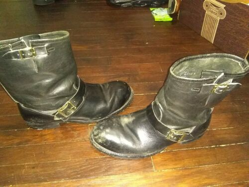Motorcycle Leather Boots Black Size 12 Vibram Stee