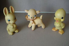 3 Vintage Rubber Rempel MFG. Co. Toys: Lamb, Rabbit , Duck  Rempel