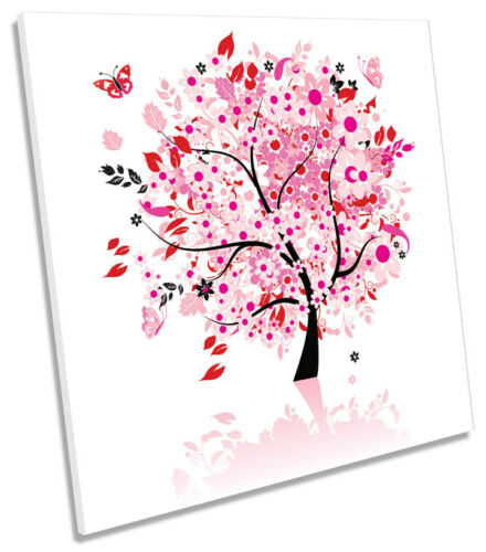 Floral Modern Tree Butterflies SQUARE BOX FRAMED CANVAS ART Picture