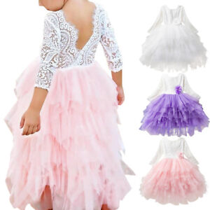 Flower Girls Princess Wedding Lace Long Dress for Toddler Party Pageant Dresses