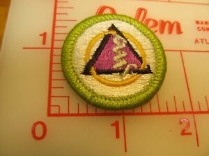oP CAMPING merit badge plastic backed green border patch