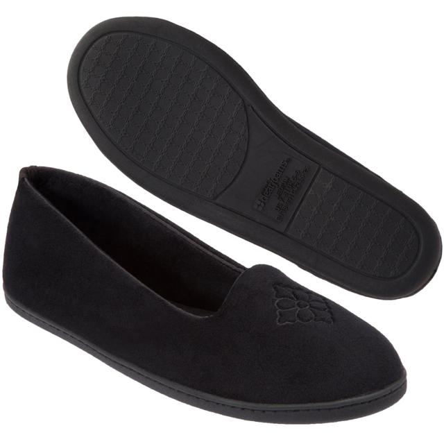 Dearfoams Womens Velour Closed Back Slippers Black Large 9-10