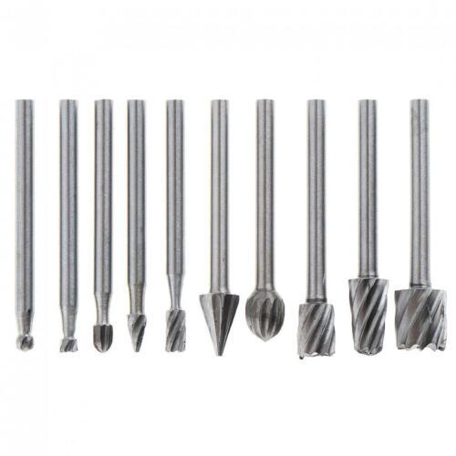 "10pcs DIY Tungsten Carbide Burr Rotary Cutter Engraving bit 3mm 1//8/"" Shank Set"
