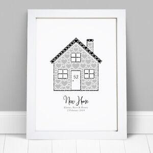 Personalizzato-New-Home-Casa-Famiglia-INAUGURAZIONE-CASA-REGALO-CORNICE-STAMPA