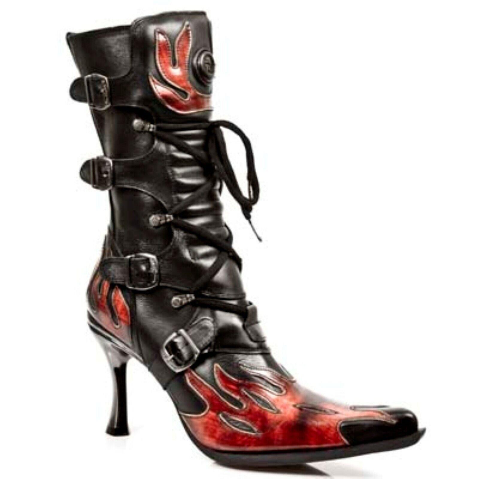 New Rock Malicia 9591-c10 Damen Schwarz Leder Rot Flamme Hoher Absatz Punk