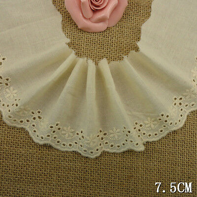"""3""""*6yard delicate beige embroidered flower cotton lace trim for DIY"""