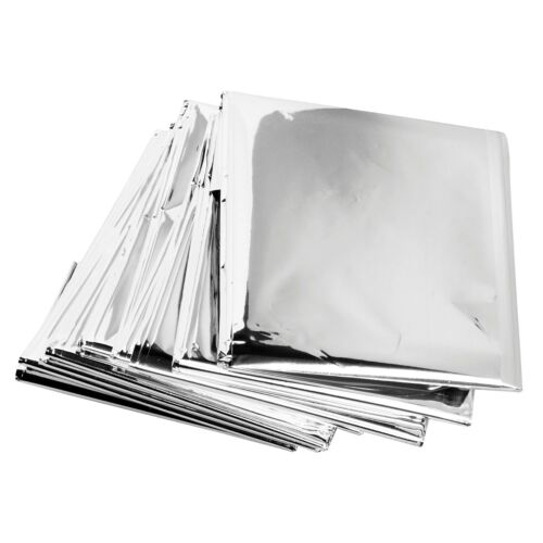 Survival Camping Mylar 4 X Emergency Foil Thermal Blanket Sheet Poncho Silver