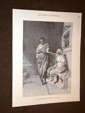 Storia di Roma Caio o Gaio Sempronio Gracco e la madre Incisione di L. Pogliaghi