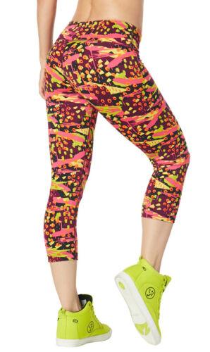 Shocking Pink Zumba Kingston Vibes Capri Leggings Large Small sz XS