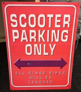 Scooter-Parking-Only-Metal-Red-amp-White-Letters-40cm-x-30cm-Other-Bikes-Crushed